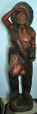 Very Rare - Vintage Carved Wood Cigar Store Indian 4' Tall - All Original Paint