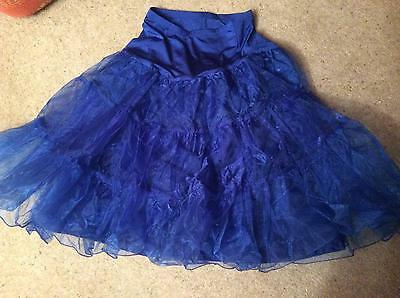 Blue swing jive tulle net petticoat + 3 tier tulle layer elasticated waist S/M