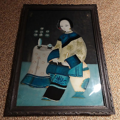 Antique Chinese export rare reverse painting on glass 19th C