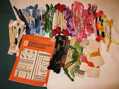 Vtg Coats & Clark's 100 EMBROIDERY STITCHES Booklet + Lot of 60+ Skeins FLOSS