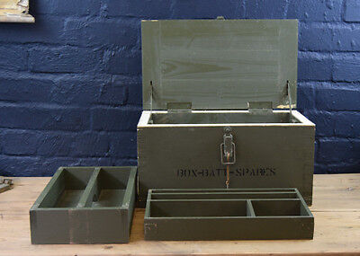 Vintage Remploy Green Military Sectioned Trays Wooden Army Chest Case Box
