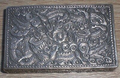 Superb Antique Asian Sterling Silver Box Intricate 140 Grams