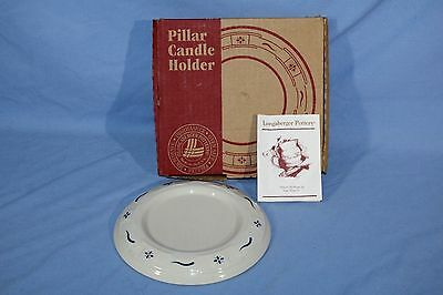 """New LONGABERGER 4"""" Pillar Candle Holder Woven Traditions Classic Blue, with Box"""