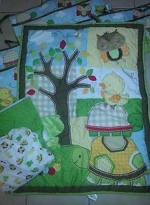 Step by Step 4 Piece Crib Bedding Nursery Set Forest Critters GUC