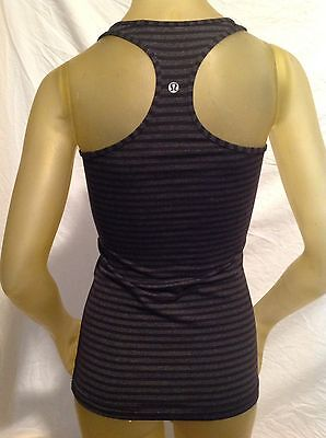 Lululemon Womens Black Gray Striped Racerback Tank Top Size 2 Excellent!!!