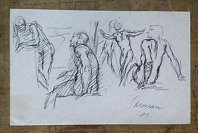 Harry Carmean Original Black Ink Nude Figures Sketches Drawing Signed Realsim