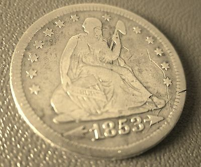 1853 SEATED LIBERTY QUARTER with ARROWS & RAYS