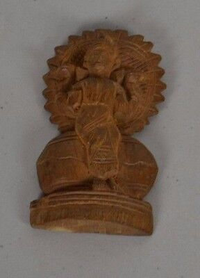 Antique Asian India Hand Carved Wooden Temple Statue Small 1944 Intricate