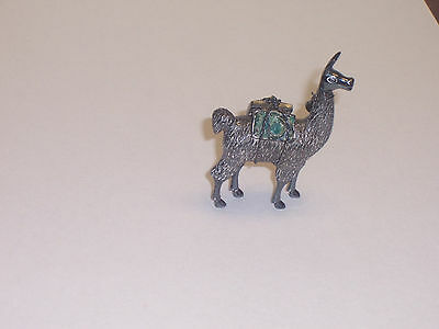 Vintage Sterling .925 Sterling Silver Liama Figurine with Pack & Bell