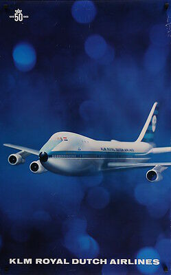 KLM AIRLINES ROYAL DUTCH AIRLINES BOEING 747 Vintage Travel poster 1969 25x40