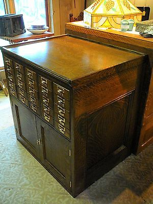 Antique 25 Dr. Quarter-Sawn Oak Library Card Catalog File Cabinet/Kitchen Island
