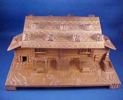 Vintage Antique Black Forest Carved Alpine House Jewelry Box