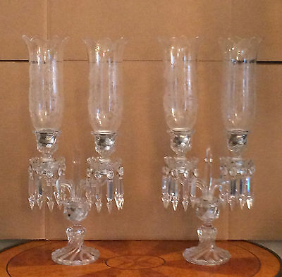 Vintage pair Baccarat Candle holders with etched hurricane shades