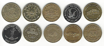 1. A Lot Of 10 Mixed Car Wash Tokens Woody's, Norco, Solar, Quality & More