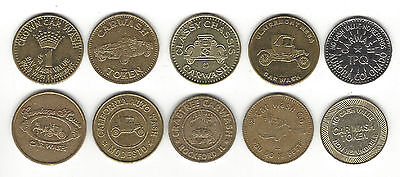 "4. A Lot Of 10 Mixed Car Wash Tokens Starts With ""c"" Crabtree, Calif, Crown"