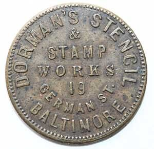 1875 Baltimore, Maryland Die Sinker Advertising Token; Md