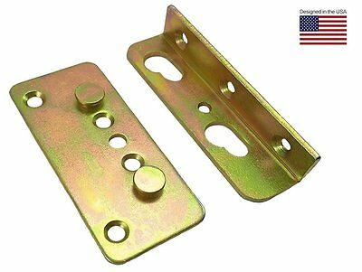 Premium No-Mortise Bed Rail Brackets Fittings (Complete Set of 4)