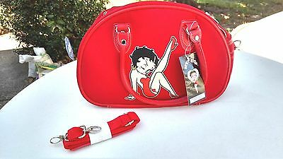 Adorable Betty Boop Red Satchel  Canvas and Faux Leather Handbag  Medium