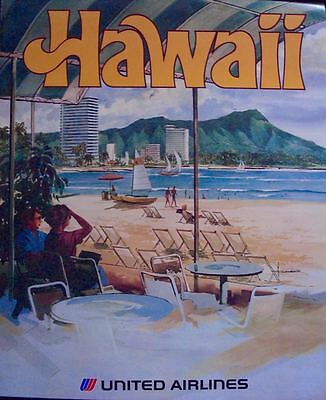UNITED AIRLINES HAWAII Vintage Travel poster 1973 HOLLENBECK 23x29 NM