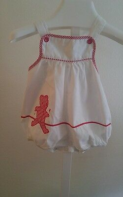 Vintage Carter's Baby Girl White Sunsuit/Romper 3-6 mths~Red Teddy Bear