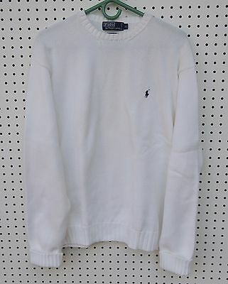 Polo Ralph Lauren Long Sleeved Sweater, Cream White Mens XL, 100% Cotton