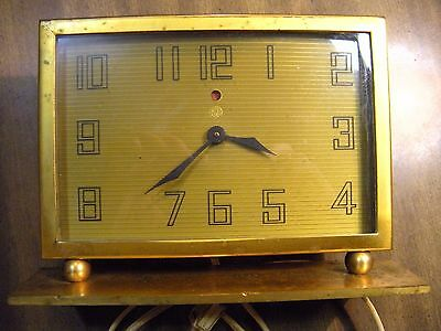 Vintage Deco Style Brass Desk Clock by General Electric Co.