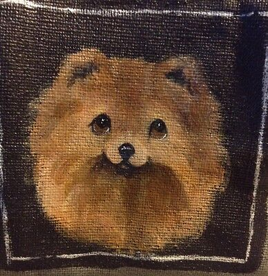 Original Painting~Pomeranian~Dog~Hand Painted~Canvas Pouch~Patches~Whimsical