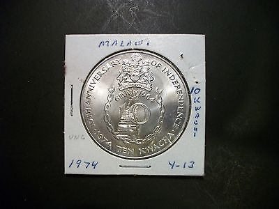Malawi 1974 10 Kwacha Silver foreign unc coin