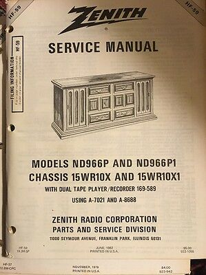 Zenith Service Manual HF-59 1982 Models ND966P/P1, Chassis 15WR10X/X1, Excellent