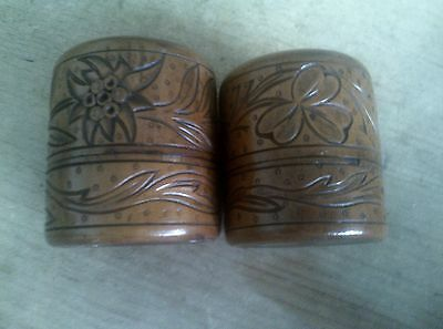 PAIR 19th CENTURY CARVED TREEN/WOODEN INK POTS WITH BOTTLES ETC