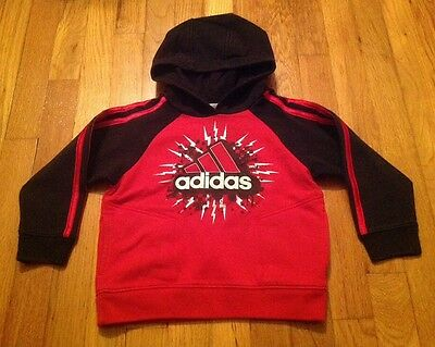 'Adidas' TODDLER BOY's Red & Black HOODIE with 2 pockets - size: 2T