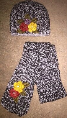 Knit Hat Scarf Set Black Gray Floral Design Womens NWT