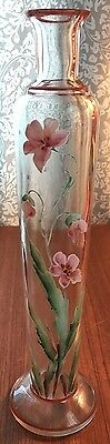 Antique Floral Enamel Painted Tall Bud Vase