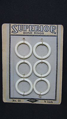 Vintage Superior Bone Rings RM Co on Card No. 22 7/8 Inch Qty 6 Sewing Buttons