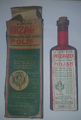 Vintage antique Wizard Furniture and Floor Polish in box unopened cork bottle