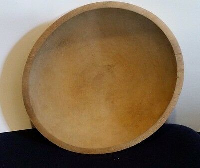 """VINTAGE LG WOOD BREAD DOUGH MIXING BOWL HAND TURNED CARVED PRIMATIVE 16""""X17.5x6"""""""