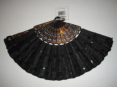 New Folding Hand Fan Gold Embellished Black Lace Sequined Design Beautiful