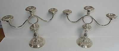 2 S. Kirk & Son Repousse Sterling Silver Candelabras Candle Holders Sticks 119F