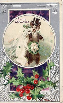 Early 1900's Newlywed Cats Christmas  Postcard - Selling Lot Of Cards