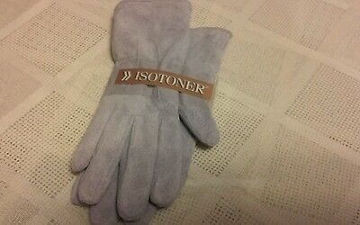 Isotoner Gray Suede  Leather Gloves Size Medium New