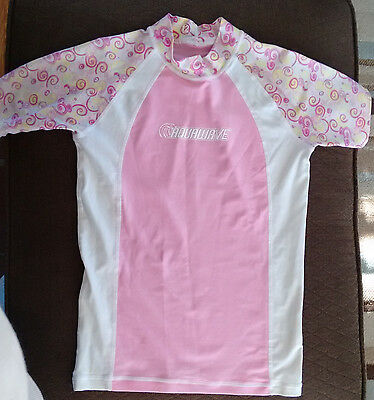 Aquawave Swim/Surf RashGuard Shirt~Pink/White~Youth/Kid/Girl Size 12