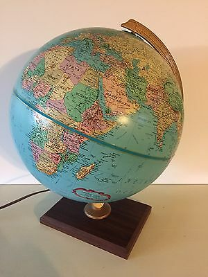 "Vintage Replogle 12"" World Premier Series Light Up Globe Wood Base Raised Relief"
