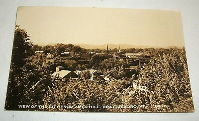 Vintage Photo Postcard Brattleboro Vermont View of the City from Ames Hill RPPC