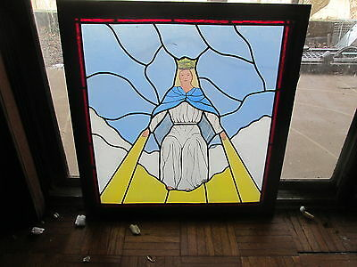 Antique Stained Painted Glass Window Crowned Angel With Golden Rays Milan Studio