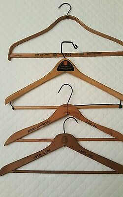 Lot of 4 Vintage Wooden Clothes Coat Hangers Advertising Hotel Gary & Lawrence +