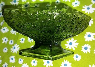 Vintage Indiana Glass Green Diamond Candy Dish Compote Flowers Floral Footed