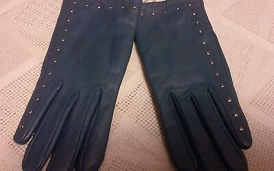 Steve Madden Women's Blue Leather Gloves Size S/m New