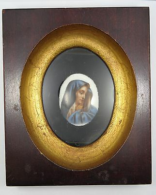 19c PORCELAIN PAINTED OVAL PLAQUE OF THE MADONNA MANNER of MURILLO .