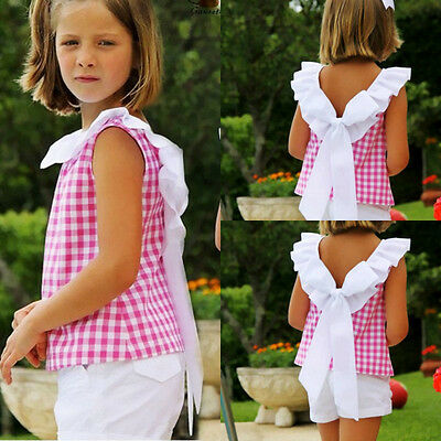 UK Stock Toddler Kids Girl Bow Plaid T-shirt Pants Outfits 2Pcs Set Clothes 2-7Y