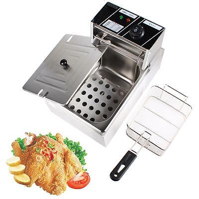 Commercial 6L Electric Countertop Deep Fryer W/Basket French Fry Stainless Steel